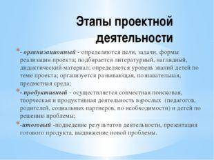 Этапы проектной деятельности - организационный - определяются цели, задачи, ф