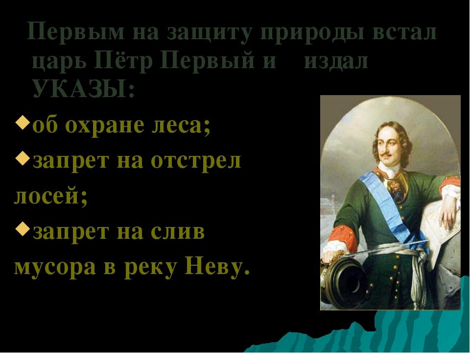 Первым на защиту природы встал царь Пётр Первый и издал УКАЗЫ: об охране лес...