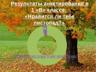 Результаты анкетирования в 1 «В» классе: «Нравится ли тебе листопад?»