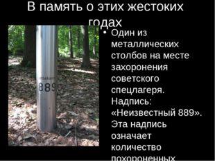 В память о этих жестоких годах Один из металлических столбов на месте захорон