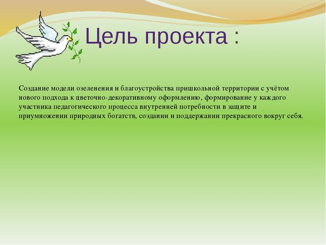 Цель проекта : Создание модели озеленения и благоустройства пришкольной терри...