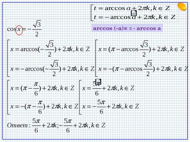 arccos (-a)= π - arccos a
