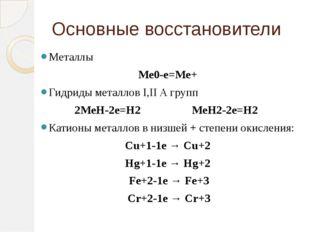Основные восстановители Металлы Ме0-е=Ме+ Гидриды металлов I,II A групп 2МеН-