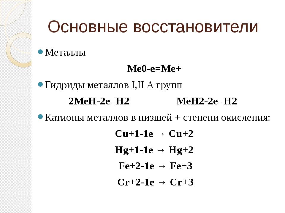 Основные восстановители Металлы Ме0-е=Ме+ Гидриды металлов I,II A групп 2МеН-...