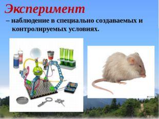 Эксперимент – наблюдение в специально создаваемых и контролируемых условиях.