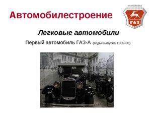 Автомобилестроение Легковые автомобили Первый автомобиль ГАЗ-А (годы выпуска
