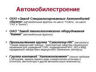 Автомобилестроение ООО «Завод Специализированных Автомобилей «Бизон» (автомоб