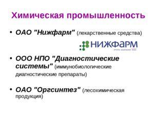 """Химическая промышленность ОАО """"Нижфарм"""" (лекарственные средства) ООО НПО """"Диа"""