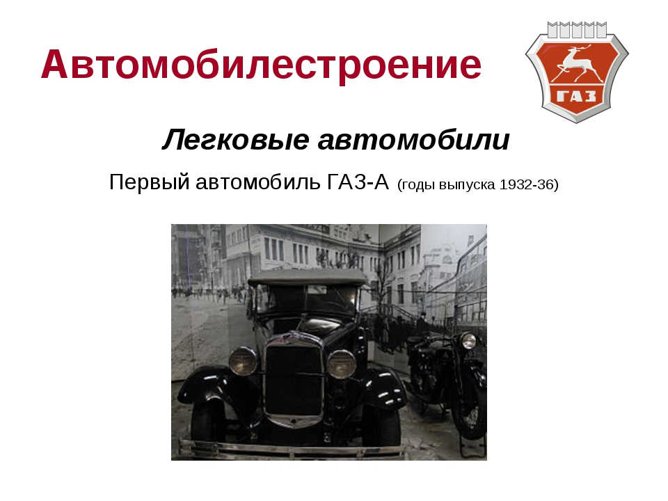Автомобилестроение Легковые автомобили Первый автомобиль ГАЗ-А (годы выпуска...
