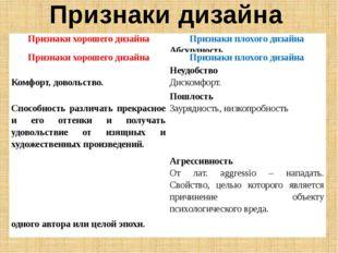 Признаки дизайна Признаки хорошего дизайна Признаки плохого дизайна Гармоничн