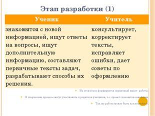Этап разработки (1) На этом этапе формируется первичный макет работы. В творч