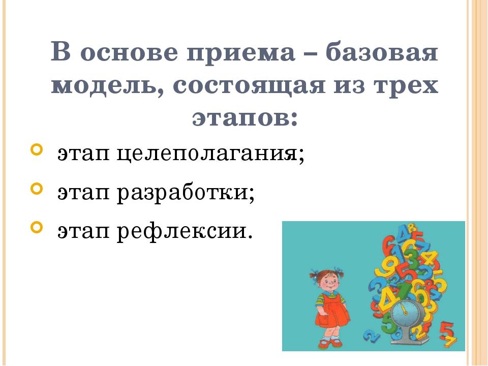 В основе приема – базовая модель, состоящая из трех этапов: этап целеполагани...