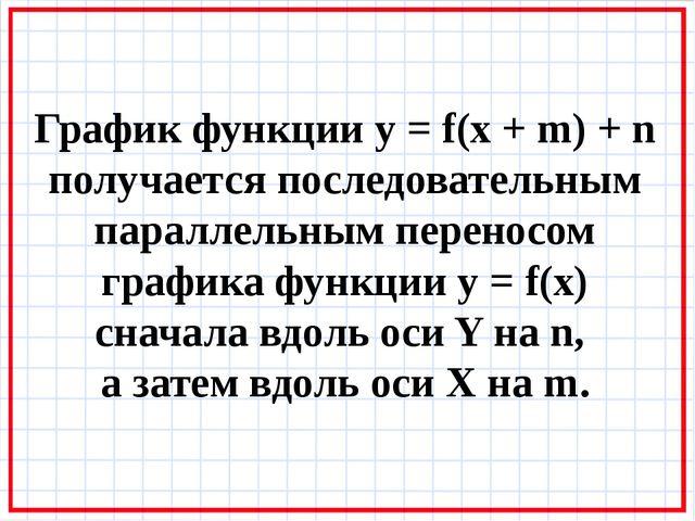 График функции y = f(x + m) + n получается последовательным параллельным пере...