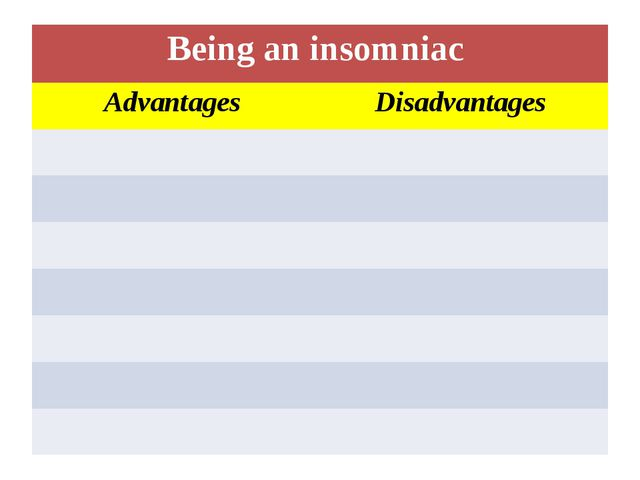 Being an insomniac Advantages Disadvantages