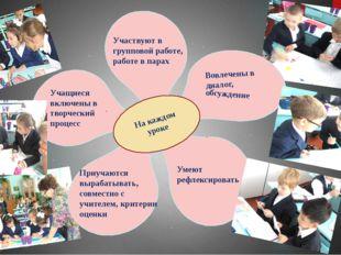 На каждом уроке Участвуют в групповой работе, работе в парах Вовлечены в диа