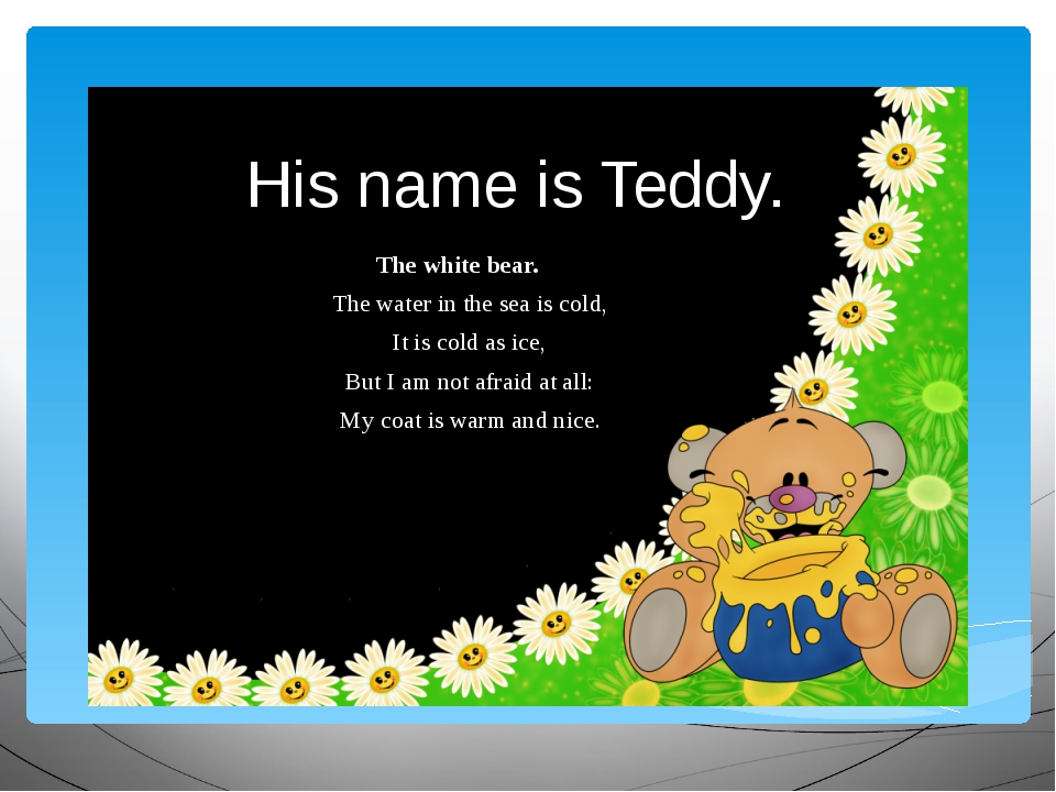 His name is Teddy. The white bear. The water in the sea is cold, It is cold a...