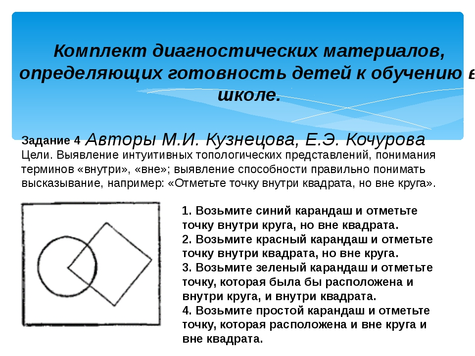 Задание 4 Цели. Выявление интуитивных топологических представлений, понимания...