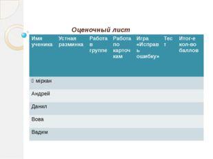 Оценочный лист Имя ученика Устная разминка Работа вгруппе Работа по карточкам