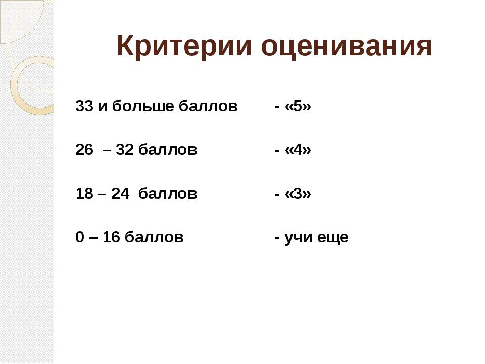 Критерии оценивания 33 и больше баллов - «5» 26 – 32 баллов - «4» 18 – 24 бал...