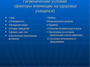 Гигиенические условия (факторы влияющие на здоровье учащихся) 1.Шум 2.Освещен