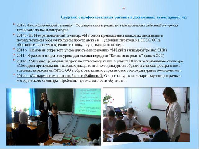 Сведения о профессиональном рейтинге и достижениях за последние 5 лет  2012...