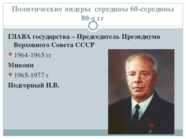 Политические лидеры середины 60-середины 80-х гг ГЛАВА государства – Председа...