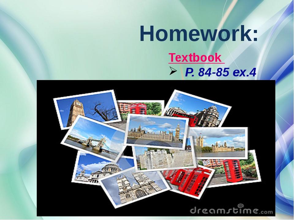 Homework: Textbook P. 84-85 ex.4 YfНаписать письмо