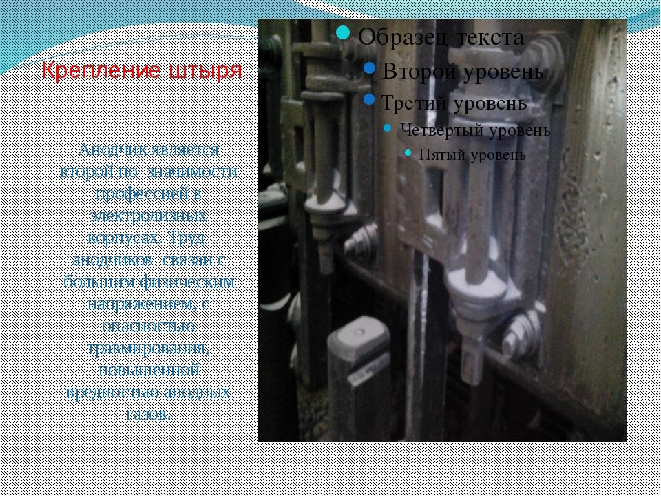 Крепление штыря Анодчик является второй по значимости профессией в электролиз...