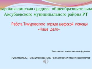 Выполнили: члены актива дружины Руководитель : Гильмутдинова Алсу Галимзянов