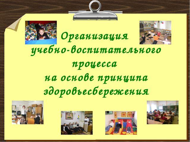Организация учебно-воспитательного процесса на основе принципа здоровьесбереж...