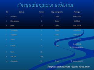 Творческий проект «Конь-качалка» Спецификация изделия №ДетальКол-воВид мат