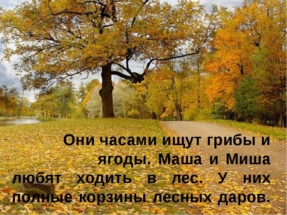 Они часами ищут грибы и ягоды. Маша и Миша любят ходить в лес. У них полные...