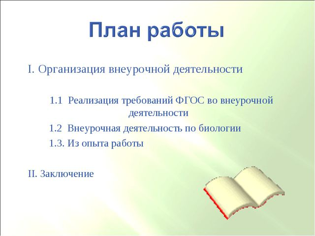 I. Организация внеурочной деятельности 1.1 Реализация требований ФГОС во внеу...