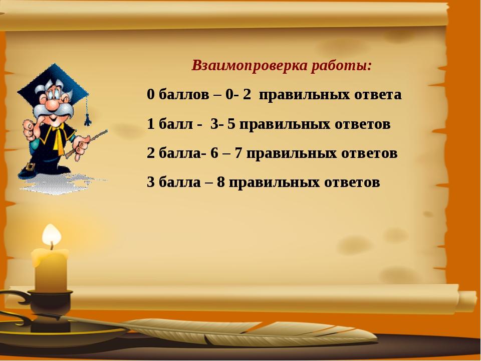 Взаимопроверка работы: 0 баллов – 0- 2 правильных ответа 1 балл - 3- 5 правил...