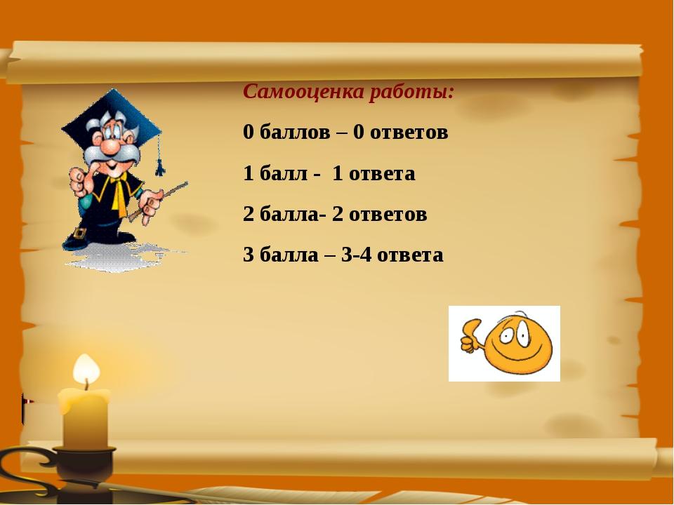 Самооценка работы: 0 баллов – 0 ответов 1 балл - 1 ответа 2 балла- 2 ответов...