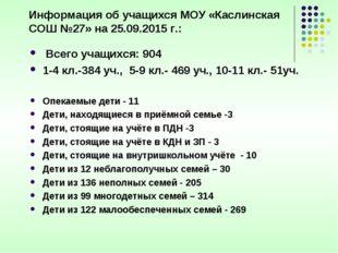 Информация об учащихся МОУ «Каслинская СОШ №27» на 25.09.2015 г.: Всего учащ