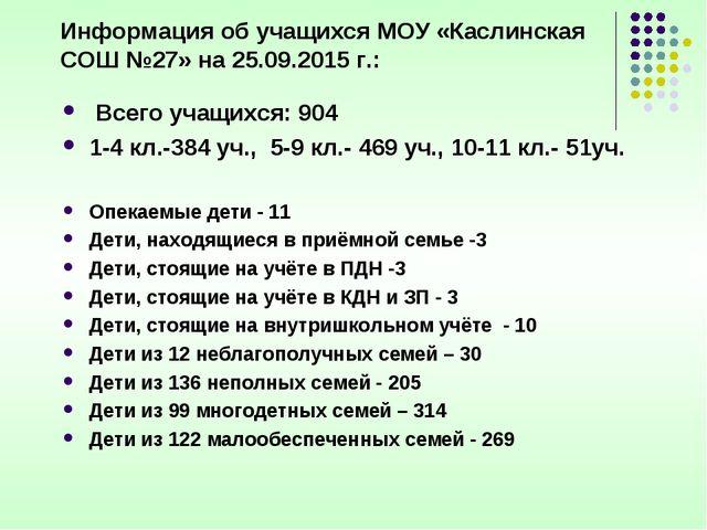 Информация об учащихся МОУ «Каслинская СОШ №27» на 25.09.2015 г.: Всего учащ...