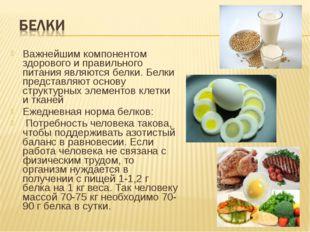 Важнейшим компонентом здорового и правильного питания являются белки. Белки п