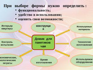 Интерьер квартиры Контроль испытание При выборе формы нужно определить : функ