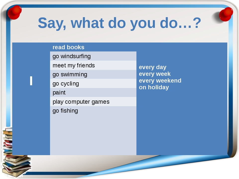 Say, what do you do…? I read books everyday every week every weekend on holid...