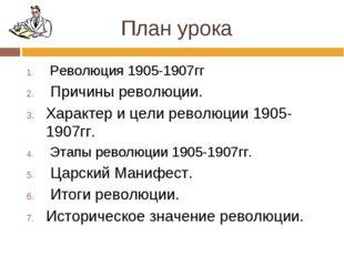 План урока Революция 1905-1907гг Причины революции. Характер и цели революции