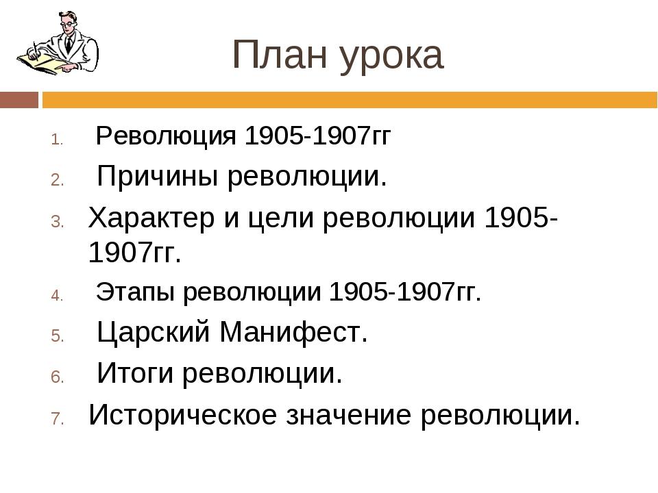 План урока Революция 1905-1907гг Причины революции. Характер и цели революции...