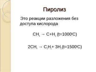 Пиролиз Это реакции разложения без доступа кислорода CH4 → C+H2 (t=10000C) 2C