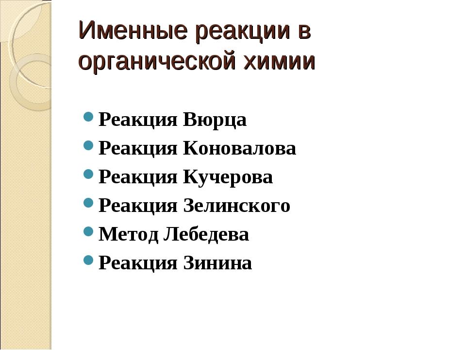 Именные реакции в органической химии Реакция Вюрца Реакция Коновалова Реакция...