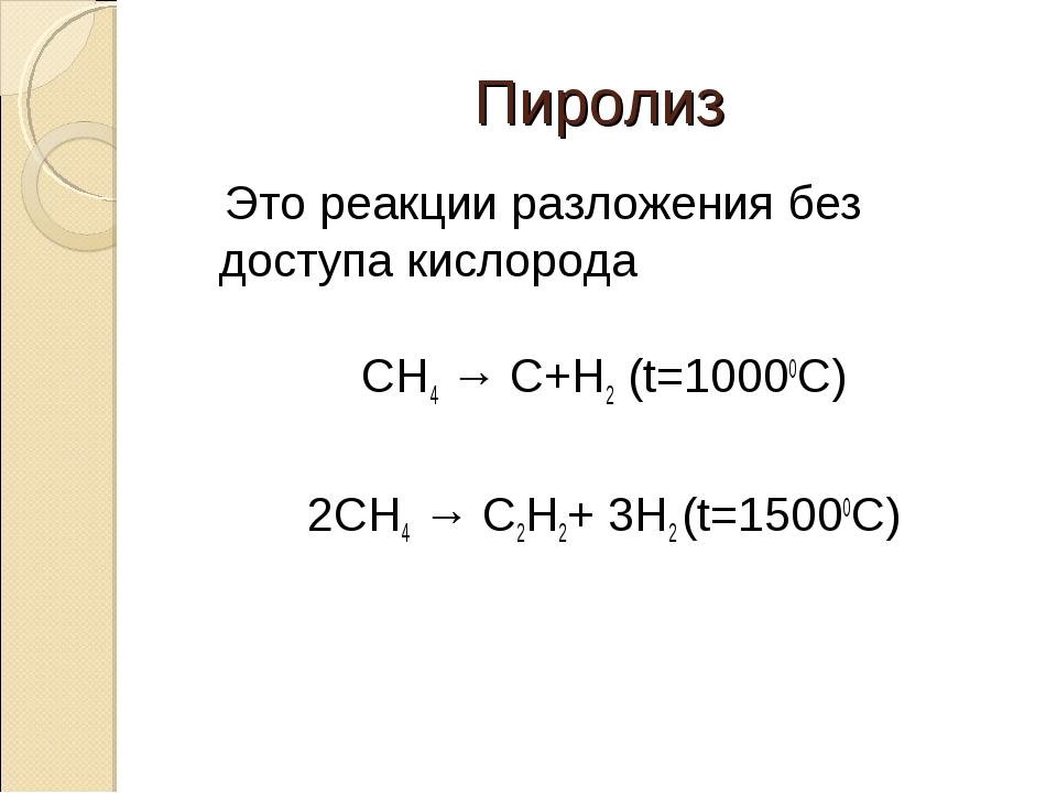 Пиролиз Это реакции разложения без доступа кислорода CH4 → C+H2 (t=10000C) 2C...