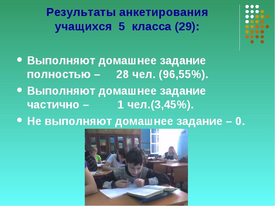 Результаты анкетирования учащихся 5 класса (29): Выполняют домашнее задание п...