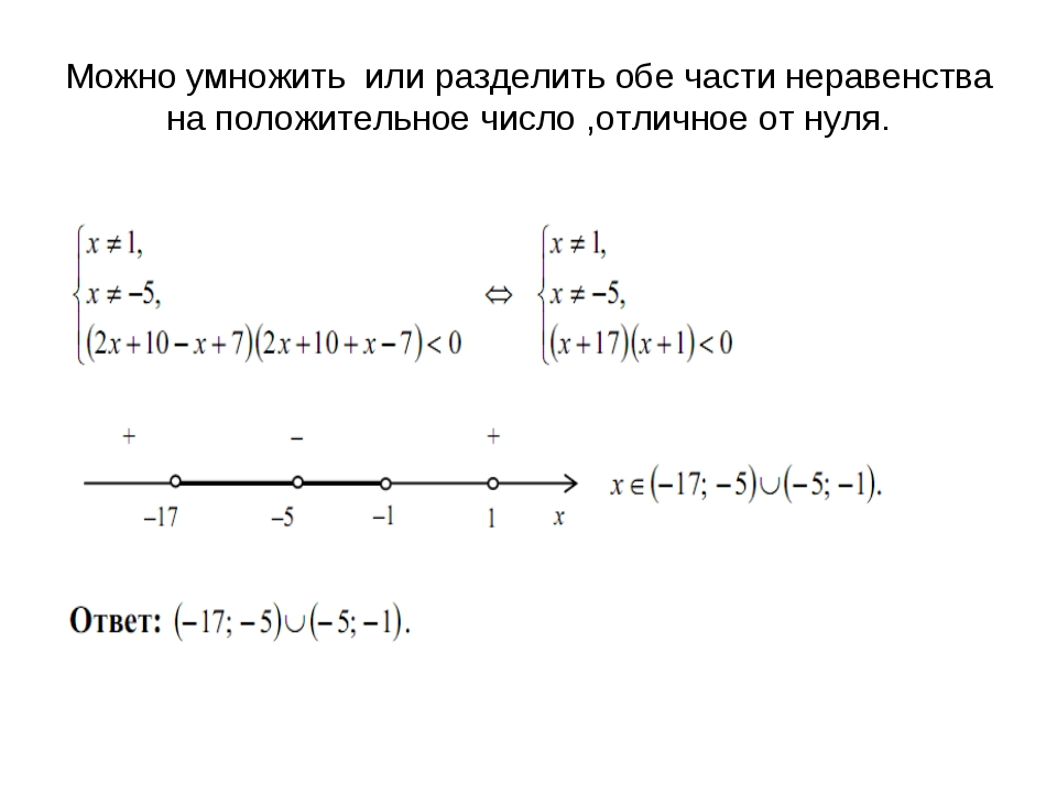 Можно умножить или разделить обе части неравенства на положительное число ,от...