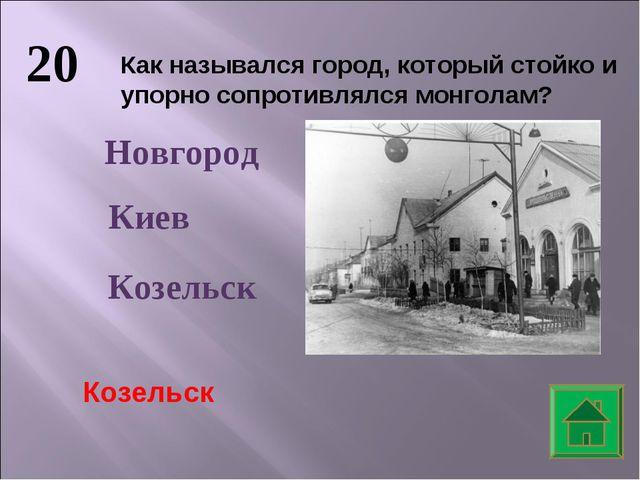20 Как назывался город, который стойко и упорно сопротивлялся монголам? Новго...