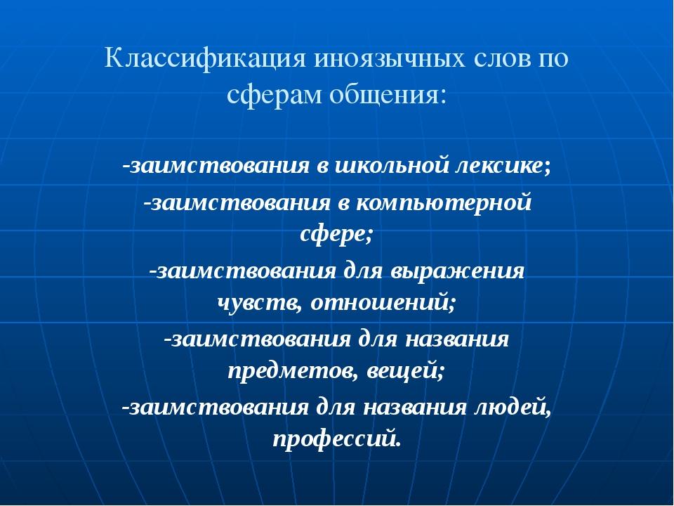 Классификация иноязычных слов по сферам общения: -заимствования в школьной ле...