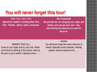 You will never forget this tour! New York, New York! Spend two weeks in excit